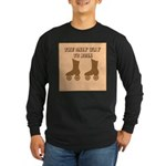 Brown Roller Skates Long Sleeve Dark T-Shirt