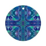 Blue Stained Glass Cross Round Keepsake Ornament