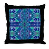 Blue Stained Glass Cross Throw Pillow