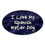 Funky Love Spanish Water Dog Oval Decal