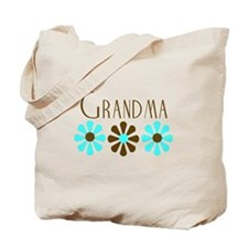 Grandma - Blue/Brown Flowers Tote Bag