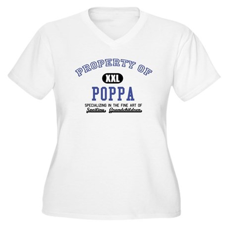 Property of Poppa Women's Plus Size V-Neck T-Shirt