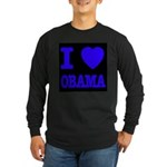 I Love Obama Patriotic Blue Long Sleeve Dark T-Shi
