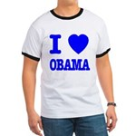 I Love Obama Patriotic Blue Ringer T