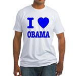 I Love Obama Patriotic Blue Fitted T-Shirt