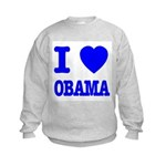 I Love Obama Patriotic Blue Kids Sweatshirt