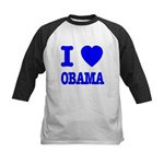 I Love Obama Patriotic Blue Kids Baseball Jersey