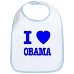 I Love Obama Patriotic Blue Bib