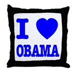 I Love Obama Patriotic Blue Throw Pillow