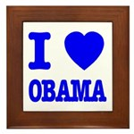 I Love Obama Patriotic Blue Framed Tile