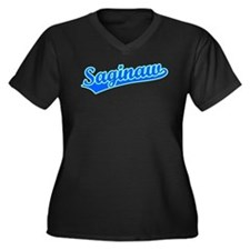 Retro Saginaw (Blue) Women's Plus Size V-Neck Dark