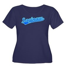 Retro Saginaw (Blue) Women's Plus Size Scoop Neck