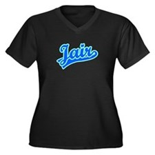 Retro Jair (Blue) Women's Plus Size V-Neck Dark T-