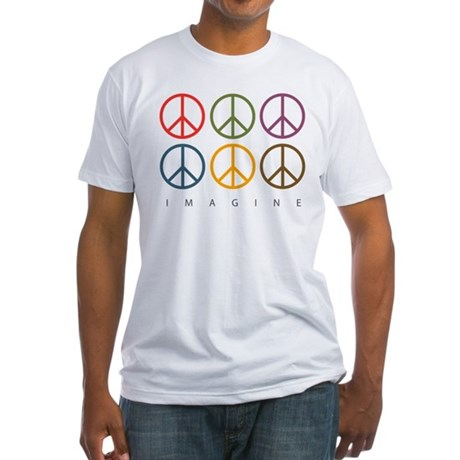 Imagine - Six Signs of Peace Fitted T-Shirt