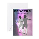 'Fencers in the 25th Centery' Greeting Cards (Pk o