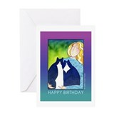TUXEDO CAT LADY Birthday Card
