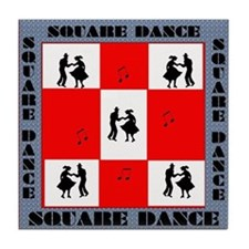 square dancing square Tile Coaster