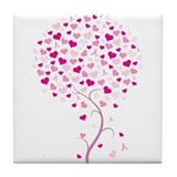 Tree of Hope - Breast Cancer Tile Coaster