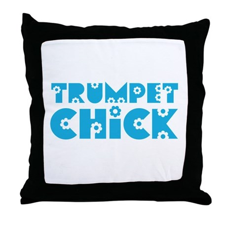 Trumpet Chick Throw Pillow