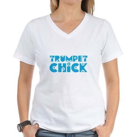 Trumpet Chick Women's V-Neck T-Shirt