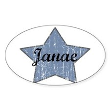 Janae (blue star) Oval Decal