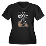 Just Roast It Women's Plus Size V-Neck Dark T-Shir