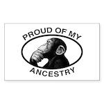 Proud of my Ancestry Chimp Rectangle Sticker 10 p