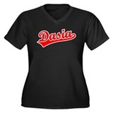 Retro Dasia (Red) Women's Plus Size V-Neck Dark T-