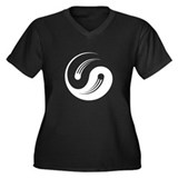 Yin Yang Motion Women's Plus Size V-Neck Dark T-Sh