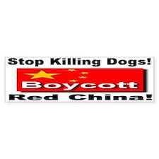 Stop Killing Dogs Boycott Red Bumper Car Sticker