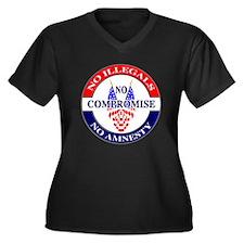 No Amnesty Women's Plus Size V-Neck Dark T-Shirt