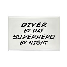Diver Superhero by Night Rectangle Magnet