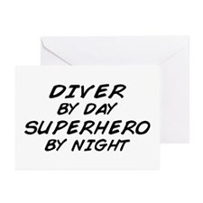 Diver Superhero by Night Greeting Cards (Pk of 10)