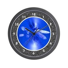 Blue Iridescent Dragonfly Wall Clock