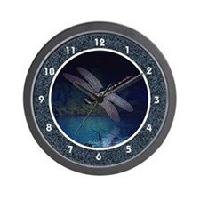 Dragonfly Night Reflections Wall Clock