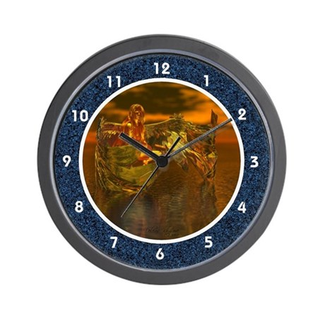 Golden Angel on Water Wall Clock