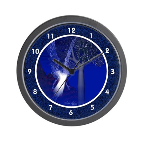 Blue Night Angel Wall Clock