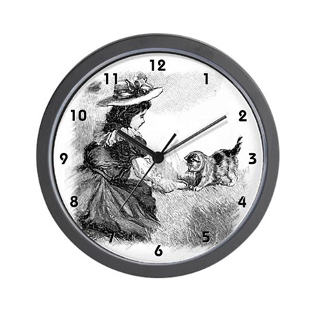 vintage Girl and Kitten Wall Clock