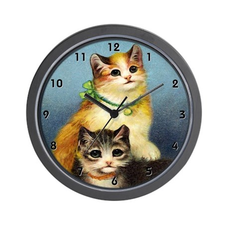 Vintage Kittens Wall Clock