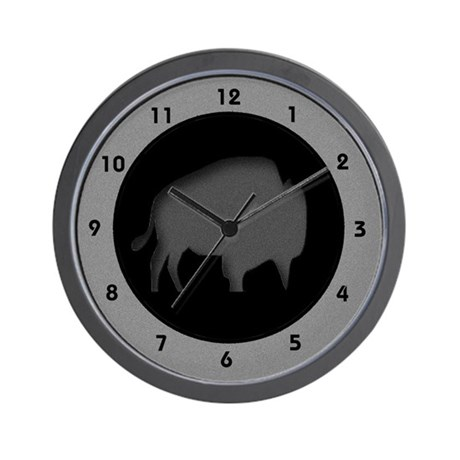 Buffalo Silhouette Grey Gray Black Wall Clock