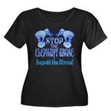 Circus Boycott -Blue Women's Plus Size Scoop Neck