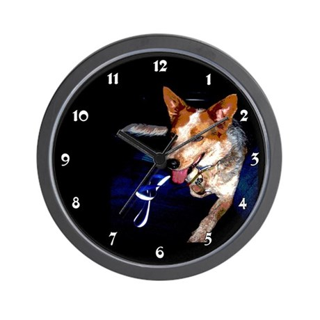 Red Heeler Dog Clocks Wall Clock