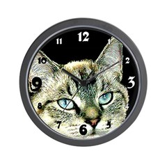 Cat Kitten Blue Eyes Clocks Wall Clock