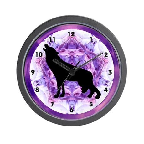 Howling Wolf Silhouette Clocks Wall Clock