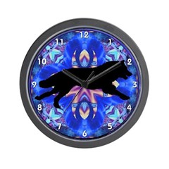 Running Wolf Kaleidoscope Black Clocks Wall Clock