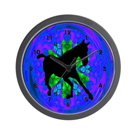Kaleidoscope Horse Silhouette Clocks Wall Clock