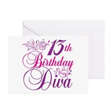 13th Birthday Diva Greeting Cards (Pk of 10)