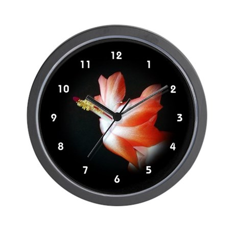 Orange Christmas Cactus Flower Clocks Wall Clock