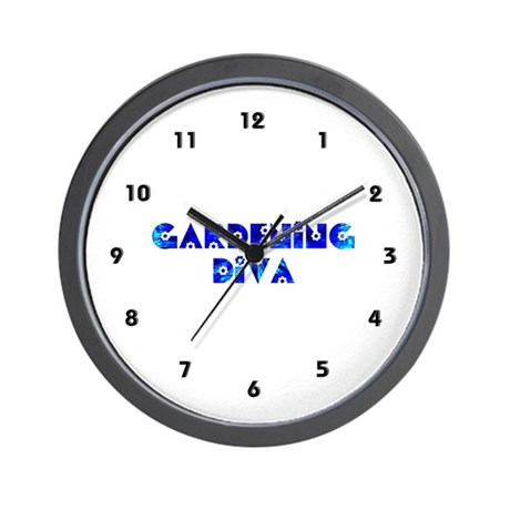 Gardening Diva Garden Flowers Clocks Wall Clock