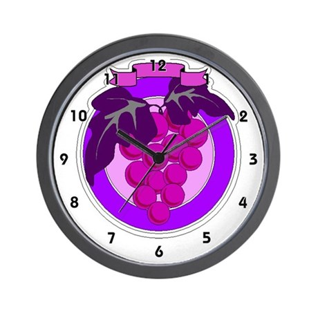 Purple Grape Grapes Vine Kitchen Wall Clock
